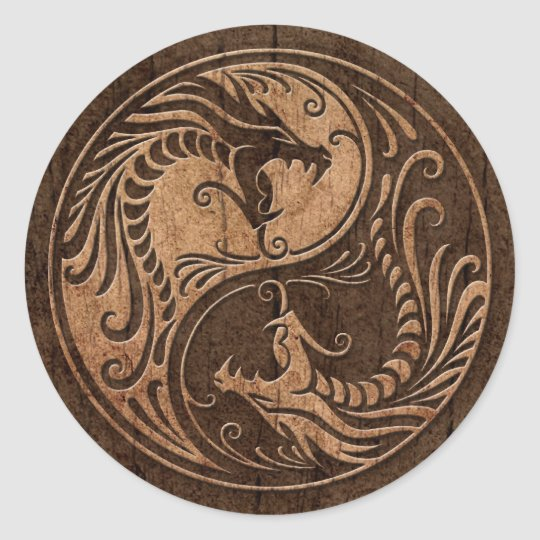 Yin Yang Dragons with Wood Grain Effect Classic Round Sticker