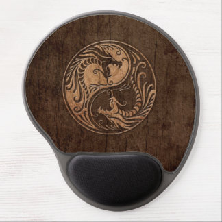 Yin Yang Dragons with Wood Grain Effect Gel Mouse Pad