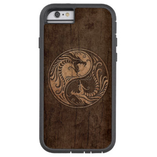 Yin Yang Dragons with Wood Grain Effect iPhone 6 Case