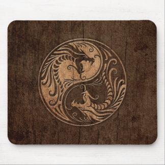 Yin Yang Dragons with Wood Grain Effect Mousepad