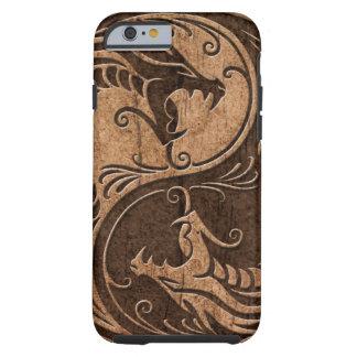 Yin Yang Dragons with Wood Grain Effect Tough iPhone 6 Case