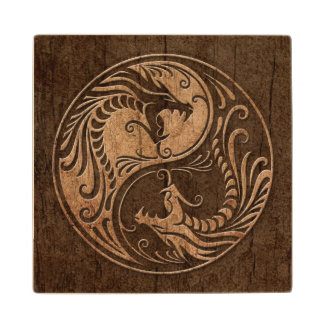 Yin Yang Dragons with Wood Grain Effect Wood Coaster