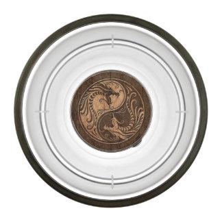 Yin Yang Dragons with Wood Grain Effect Pet Bowl