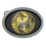 Yin Yang Dragons, yellow and black Belt Buckle
