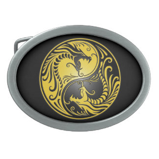 Yin Yang Dragons, yellow and black Belt Buckle