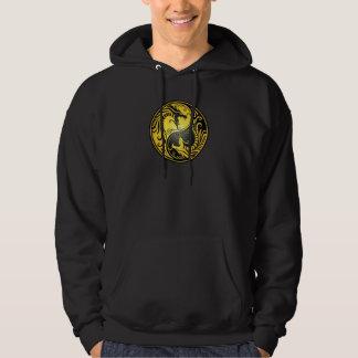 Yin Yang Dragons, yellow and black Hoodie