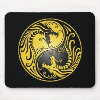 Yin Yang Dragons, yellow and black Mouse Pad