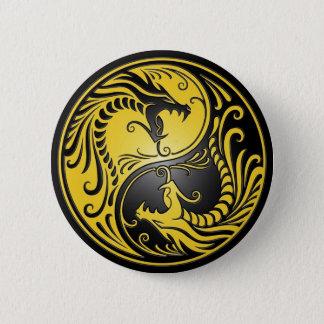 Yin Yang Dragons, yellow and black Pinback Button