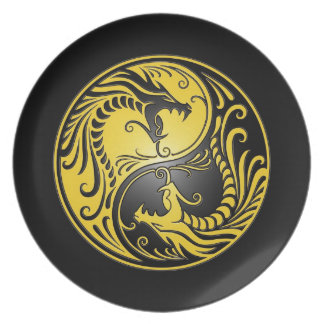 Yin Yang Dragons, yellow and black Dinner Plate