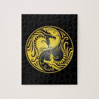 Yin Yang Dragons, yellow and black Puzzles