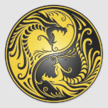 Yin Yang Dragons, yellow and black Round Sticker