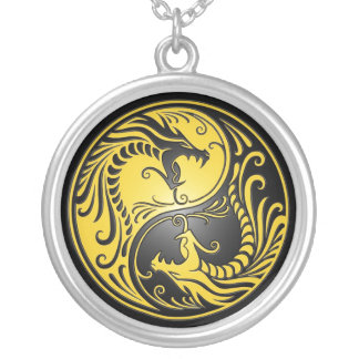 Yin Yang Dragons, yellow and black Silver Plated Necklace