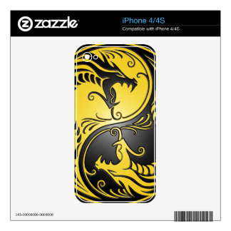 Yin Yang Dragons, yellow and black Skin For The iPhone 4S