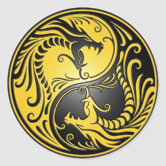 Yin Yang Dragons, yellow and black Round Sticker