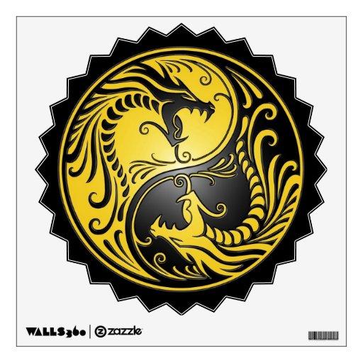 Yin yang dragons yellow and black wall decor zazzle for Decoration murale yin yang
