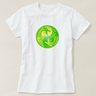 Yin Yang Dragons, yellow and green T-Shirt
