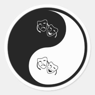 Yin Yang Drama Classic Round Sticker