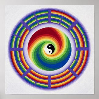 Yin Yang e I Ching en una mandala en a todo color Póster