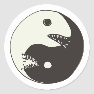 yin yang eat each other classic round sticker