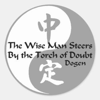 Yin Yang - el hombre sabio Pegatina Redonda