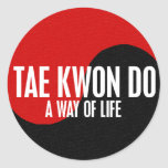 Yin Yang el Taekwondo 1 Pegatina Redonda