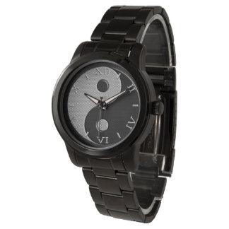 Yin Yang en dial del estilo de la fibra de carbono Reloj De Mano