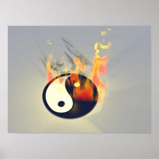 Yin Yang en el fuego Poster