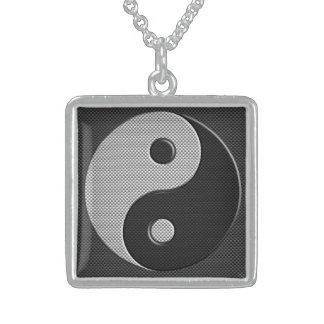 Yin Yang en estilo de la impresión de la fibra de Colgante Cuadrado