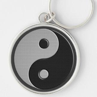 Yin Yang en estilo de la impresión de la fibra de Llavero Redondo Plateado