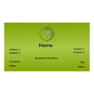 Yin Yang en tarjeta verde del perfil de la piedra Tarjeta De Visita