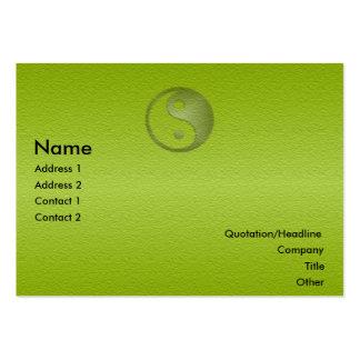 Yin Yang en tarjeta verde del perfil de la piedra Tarjetas Personales