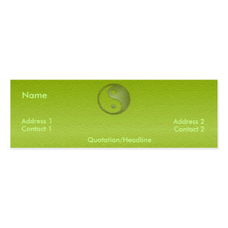 Yin Yang en tarjeta verde del perfil de la piedra Plantillas De Tarjetas De Visita