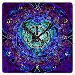 Yin Yang Energy Flow Square Wallclocks