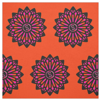 Yin Yang Fabric - Black, Orange, Pink