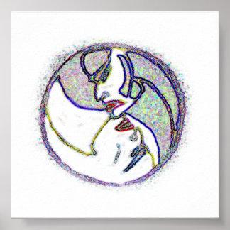 Yin Yang Faces Poster