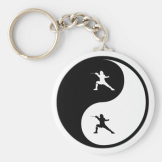 Yin Yang Fencing Basic Round Button Keychain