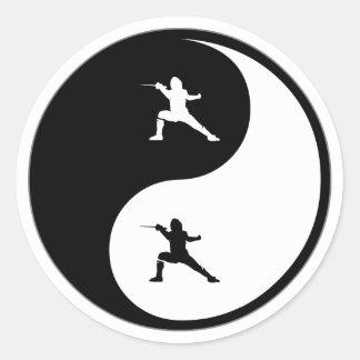 Yin Yang Fencing Classic Round Sticker