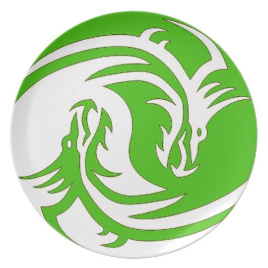 Yin Yang Fierce Dragons 4 Dinner Plate