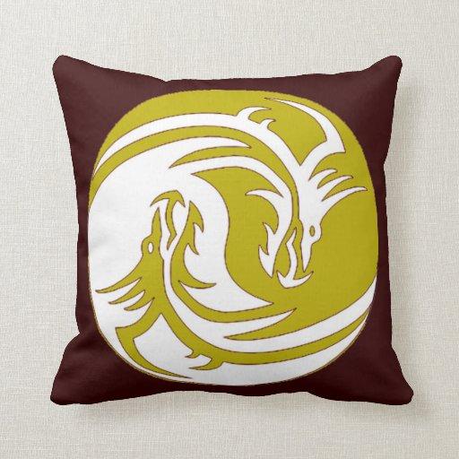 Yin Yang Fierce Dragons 5 Throw Pillow