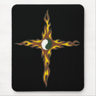 Yin Yang Fire Cross Mouse Pad