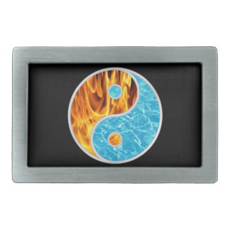 YIN-YANG FIRE WATER RECTANGULAR BELT BUCKLE