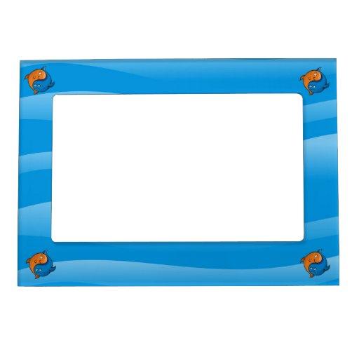 Yin yang fish cartoon photo frame magnets zazzle for Fish photo frame