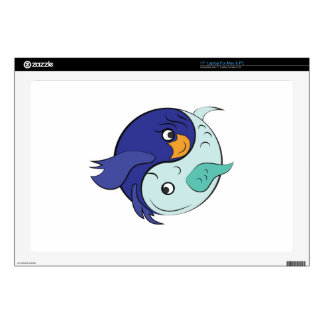 """Yin Yang Fish Decals For 17"""" Laptops"""