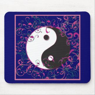 Yin & Yang Floral Design Mouse Pad