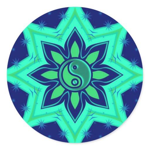 Yin Yang Flower Star Sticker