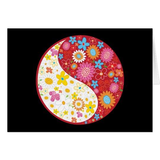 Yin Yang Flowers Greeting Card