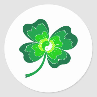 Yin Yang Four Leaf Clover Classic Round Sticker