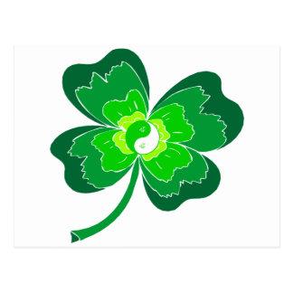 Yin Yang Four Leaf Clover Postcard