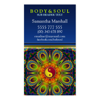 YIN YANG Fractal Peacock Mandala New Age Double-Sided Standard Business Cards (Pack Of 100)