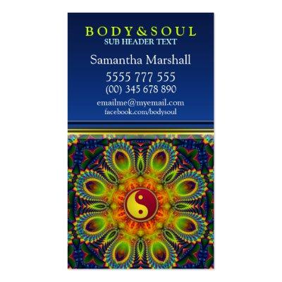 YIN YANG Fractal Peacock Mandala New Age Business Card
